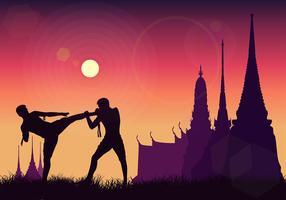 Muay Thai SiIlhouette Gratis Vector