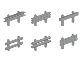 3D isometric guardrail vector