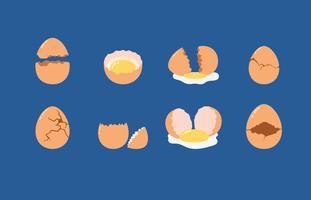 Spruckna och brutna ägg vektorelement