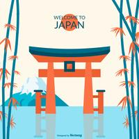Floating Torii Gate Of Itsukushima Shrine Vector Illustration