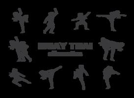 vector de siluetas de muay thai