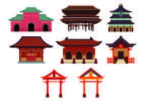 Set Of Shrine Icon vector