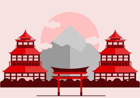 Red Japanese Shrine Vector