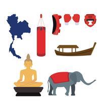 vectores planos de tailandia