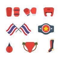 Flache Muay Thai Vektoren