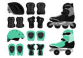 Set Of Rollerblade Equipment Icon
