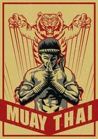 Muay thailändsk affisch vektor