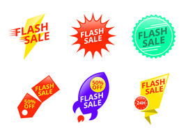Bagliore e prezzo variopinto Flash Badge Vector