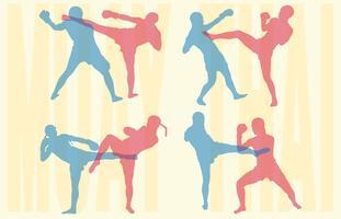 Muay Thai siluetas vector