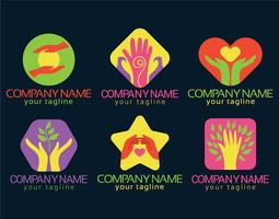 Healing hands vector set