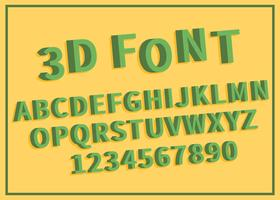 Free Green 3D Font Set Illustration