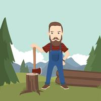 Woodcutter Illustration Free Vector