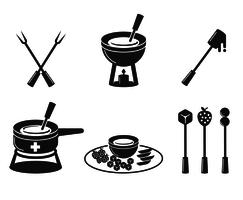 Vector delicioso icono de fondue