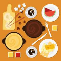 Free Cheese Fondue in Top View Vector