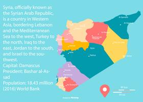 Colorful Map of Syria with Regions