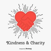 Kindness And Charity Vector Concept With Hand Shake Love Heart Icon