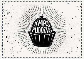 Free Vintage Christmas Pudding Silhouette Vector Background