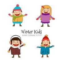 Funny Kids Character Wearing Winter Costume Collection