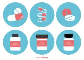 Flat Style Supplements Icon Collection