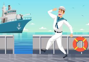 Marinheiro em um vetor de navio de guerra