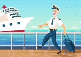 Cruiseliner Schiffskapitän Seemann Vektor