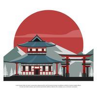 Santuário com Torii e ilustração vetorial plana da montanha