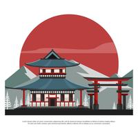 Shrine With Torii And Mountain Flat Vector Illustration