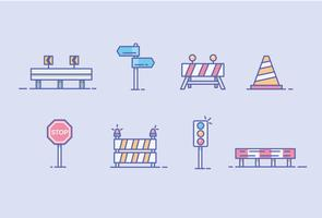 Icons of Guard Rail, Road Barrier, and Traffic Sign vector