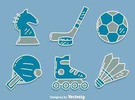 Icone di sport sul vettore blu