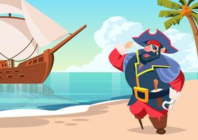 Pirate Seaman on Island Vector