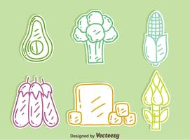 Hand Drawn Vegan Mat Ikoner Vector