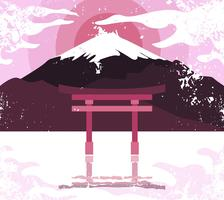 Shrine Torri Landscape Illustration Vector
