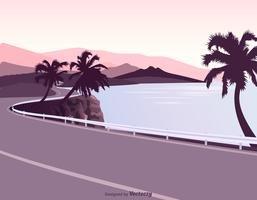 Coastal Road With Guardrail Vector Illustration