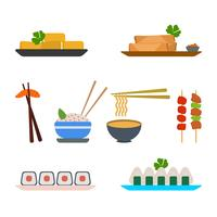 Vetores planos da comida asiática