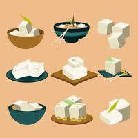 Tofu Vegan Food Icons Vector