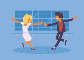 Couple Doing Tap Dance Illustration