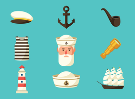 vector de iconos de marinero