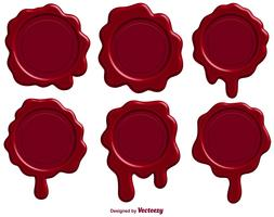 Set Of Red Stamp Wax Seal - Vector