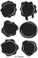 Set Of Black Stamp Wax Seal - Vector Flat Style Icons