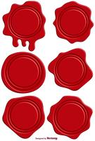 Vector Set Of Red Realistic Stamp Wax Seal
