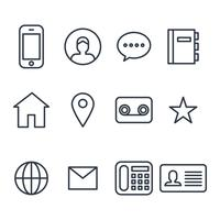 Contact Outlined Icons vector