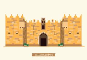 The Old City of Jerusalem Damascus Gate Illustration