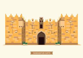 La ilustración de la puerta de Damasco de la ciudad vieja de Jerusalén