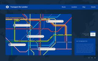 Tube Map London Transportation. Metro. Plantilla web de Metro Mass Transportation.
