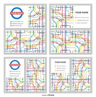 Business Name Card Vector Templates In Tube Map Design
