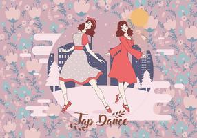Vintage Floral Tap Dance Vector