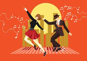 Illustration of Couple Dressed in 1940s Fashion Tap Dancing