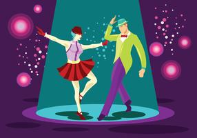 Bright Couple Tap Dance Performer Vector