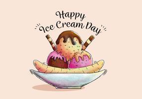 Cute Split Illustration for Ice Cream Day