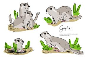 Gopher mignon Pose dessinés à la main vector Illustration